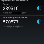 Google Authenticator com a conta configurada