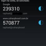 Google Authenticator com a conta configurada