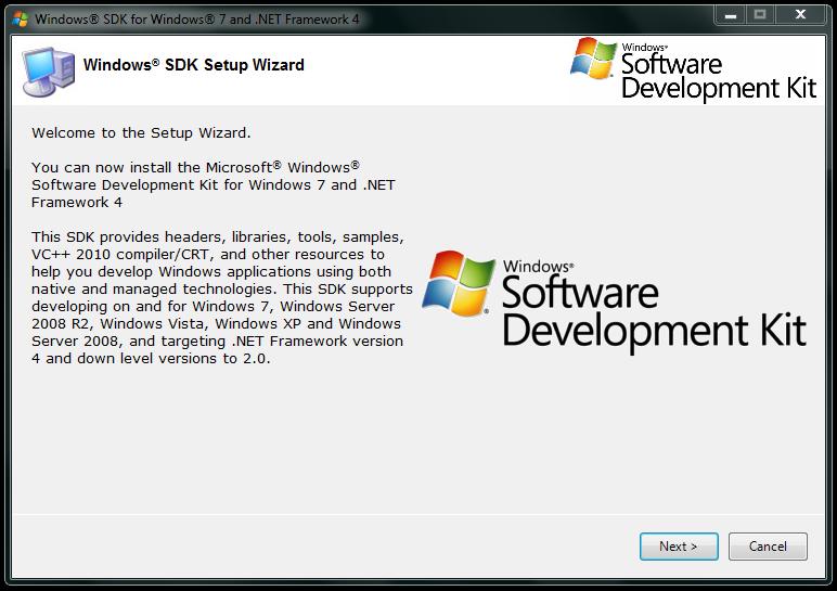 Imagem da tela de inicio do setup do SDK