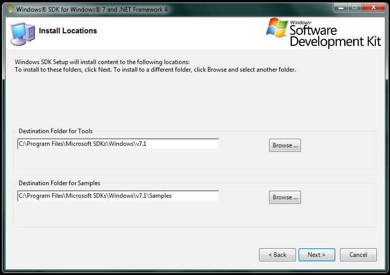 Imagem da Tela de definição do local de instalação do SDK