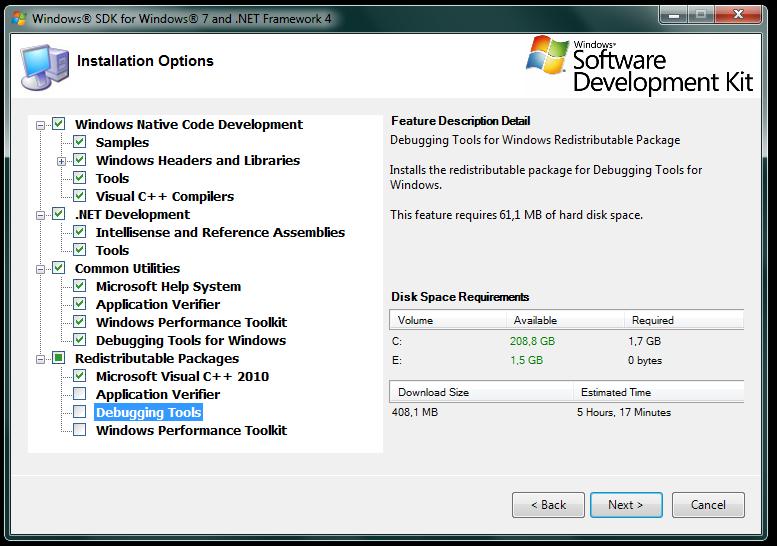 Imagem da tela de escolha das opções de instalação