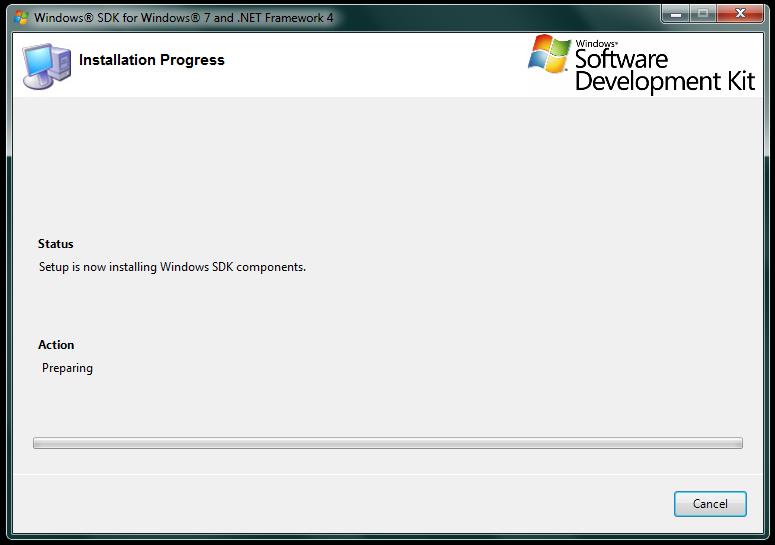 Imagem da tela de progresso da instalação do SDK