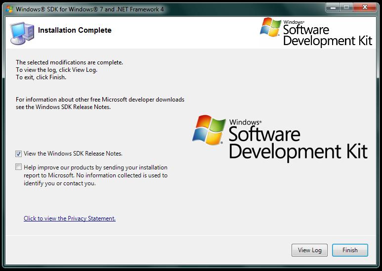 Imagem da tela de informação da conclusão da instalação do SDK