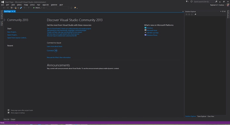 Tela do Visual Studio Community 2013