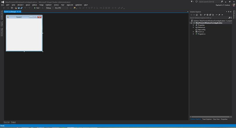 Tela do nosso projeto aberto no Visual Studio