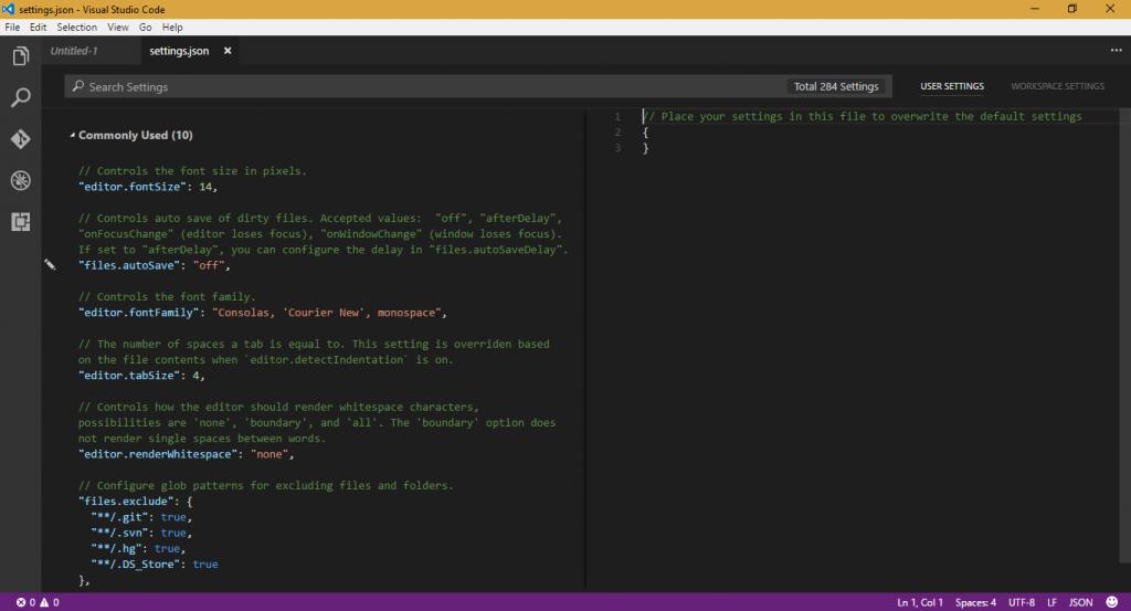Arquivo settings.json do Visual Studio Code